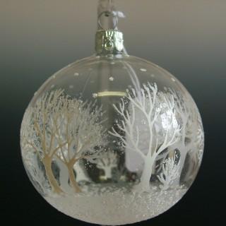 Vánoční ozdoba koule stromy bílé 6cm/6ks