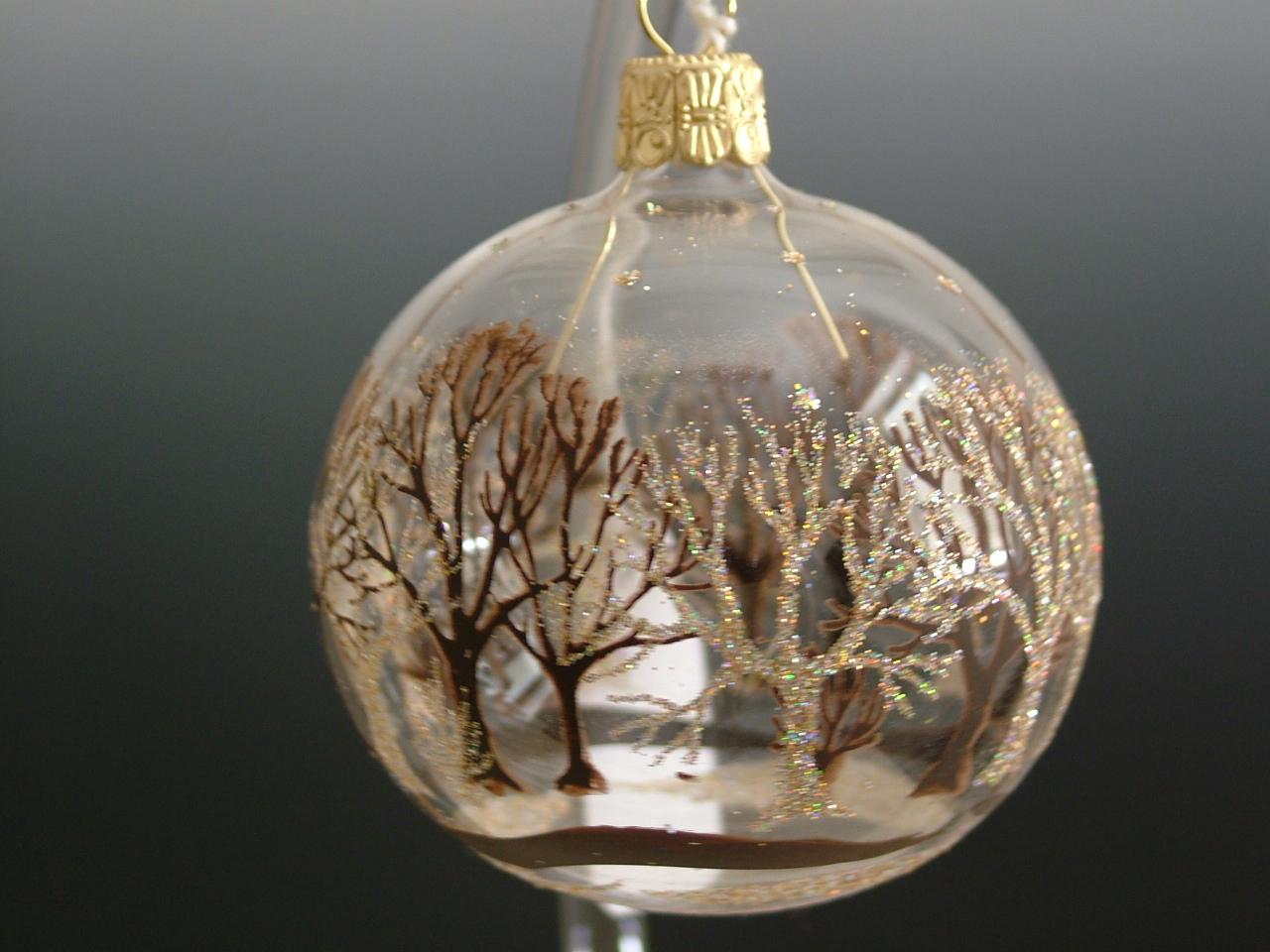 Vánoční ozdoba koule stříbrné stromy 8cm/6ks