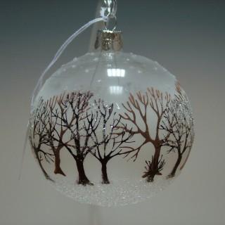 Vánoční ozdoba koule stromy hnědý a bílý 8cm/6ks