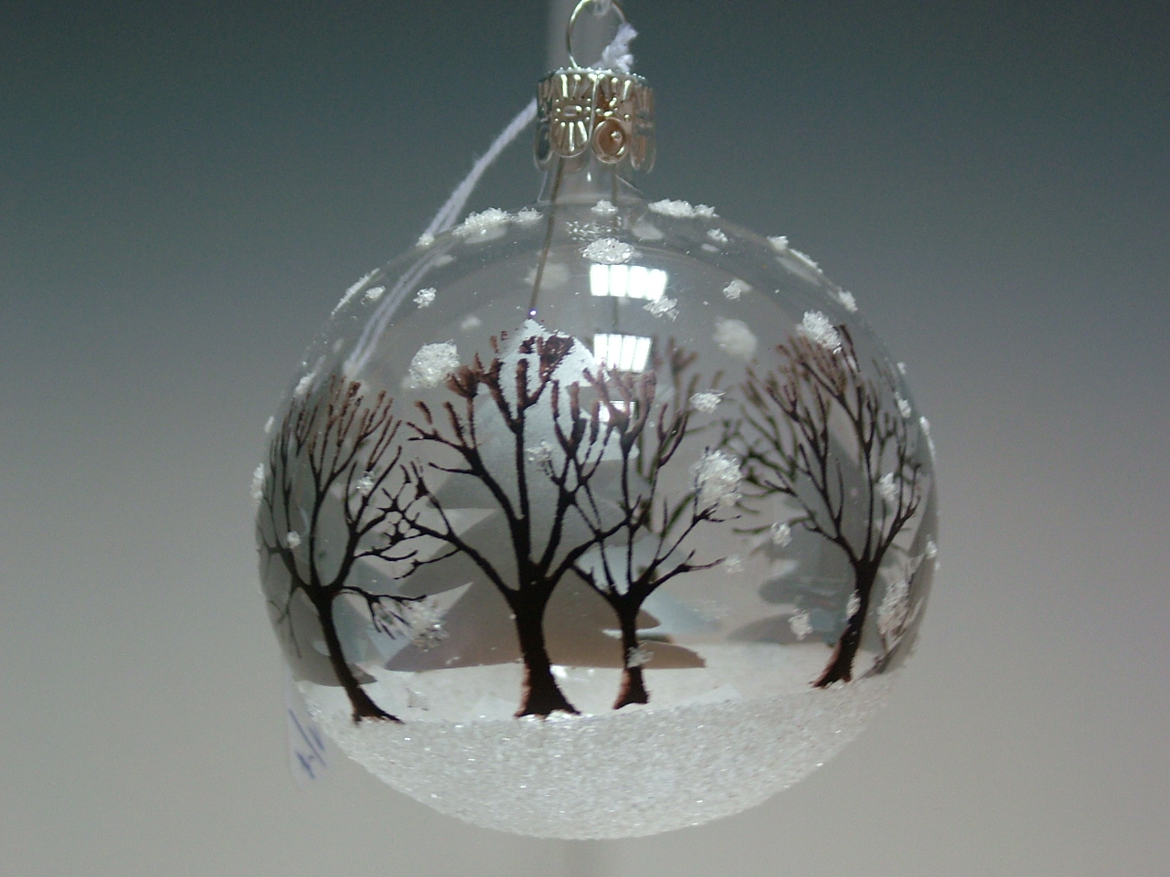 Vánoční ozdoba koule se stromy 8cm/6ks