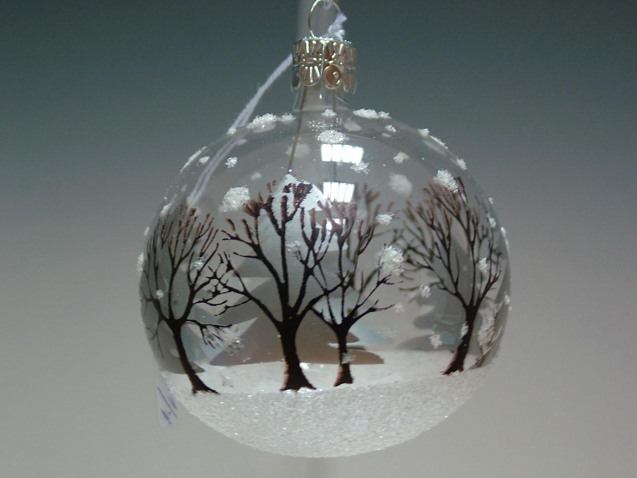 Vánoční ozdoba koule se stromy 10cm/6ks