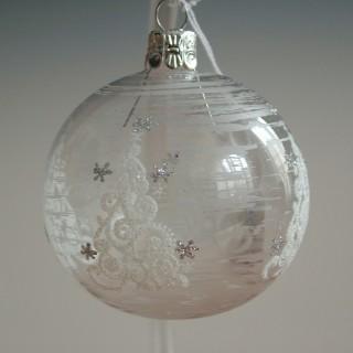 Vánoční ozdoba koule stromy 8 cm/6ks