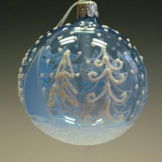 Vánoční ozdoba koule modrá se stromy 8cm/3ks