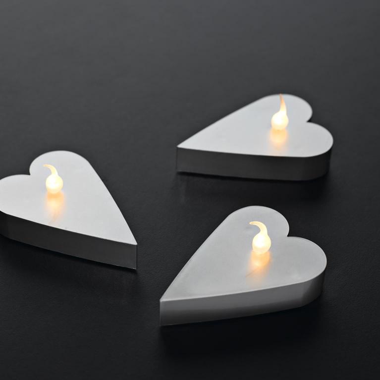 LED čajové svíčky srdce bílé 6 ks