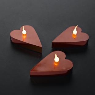 LED čajové svíčky srdce červené 6 ks