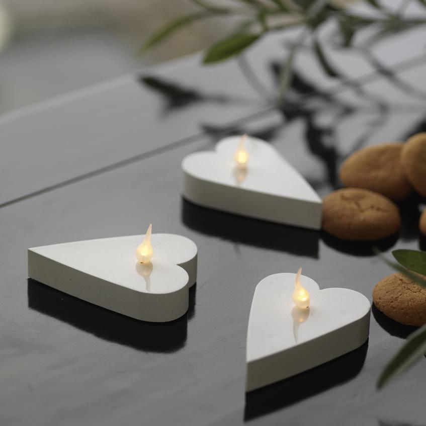 Led Čajové svíčky srdce 6 ks bílé