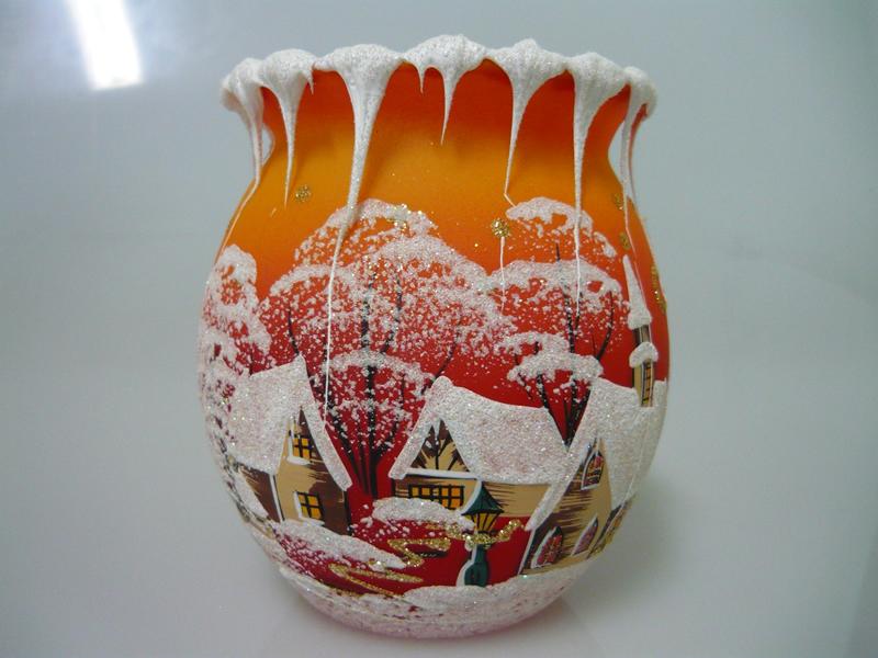 Vánoční svícen soudek oranžový malý