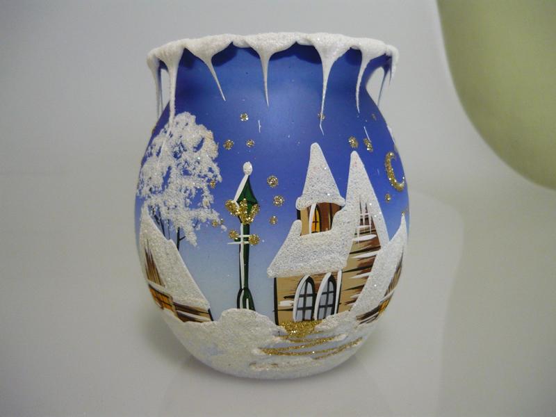Vánoční svícen soudek modrý velký