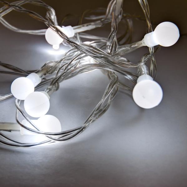 LED světelný řetěz na baterie kuličky 2,1m/10 diod