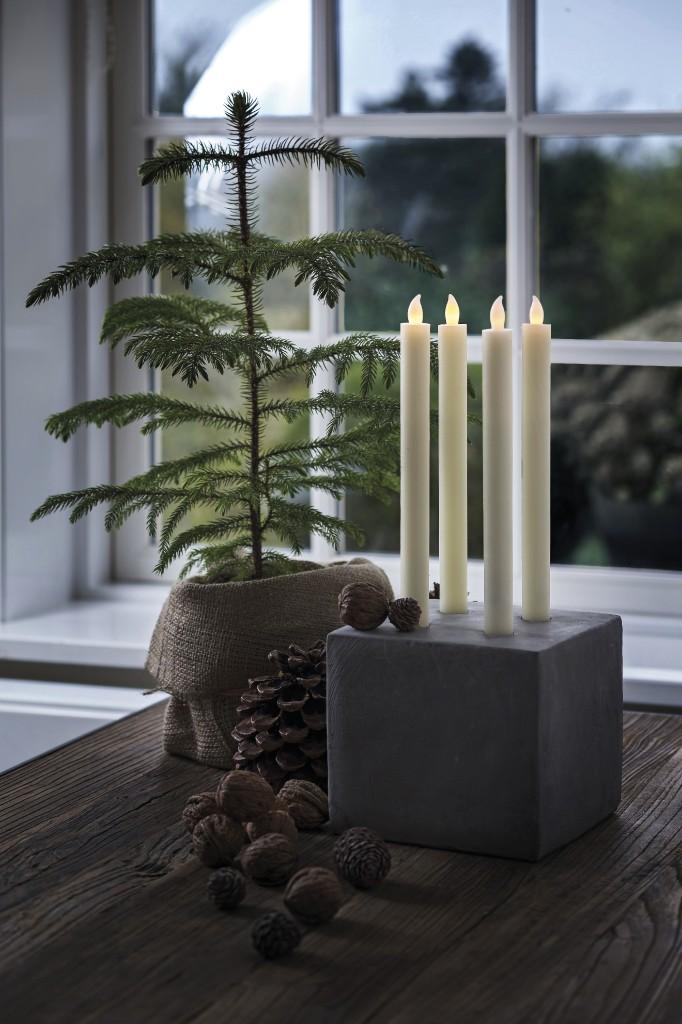 LED svíčky 2 kusy mandlové 25 cm