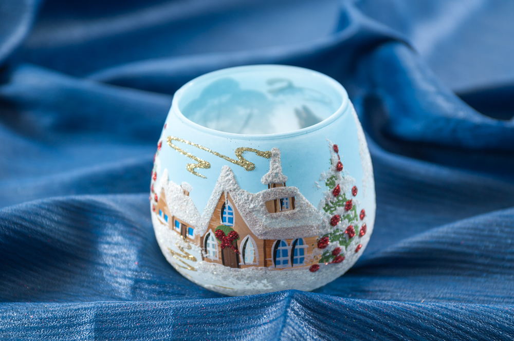 Vánoční svícen kalíšek modrý luxusní