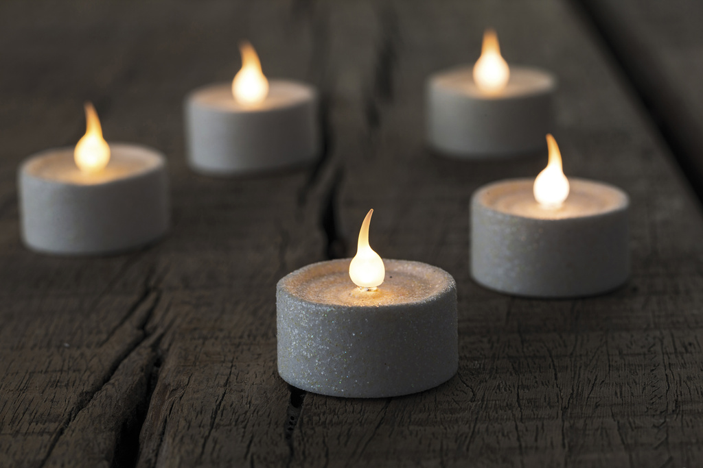 Čajové LED svíčky 6 ks třpytky