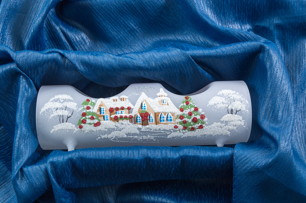 Vánoční svícen na 2 svíčky bílý luxusní